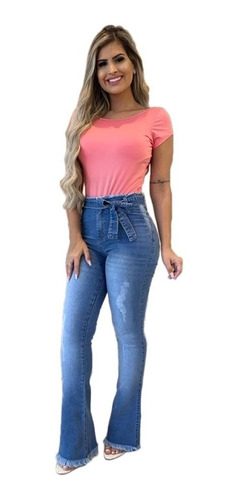 acb65d2d3182 Calça Jeans Flare Feminina Estilo Pitbull Levanta Bumbum .