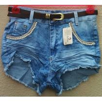 Short Jeans Cintura Alta Hot Pants Customizado+cinto D Bride