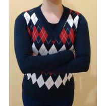 Blusa Gola V Feminina Escocesa Tricô Malha Linha Xadrez