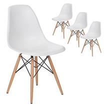 Kit 4 Cadeiras Charles Eames Wood Branca Design - Imperdível