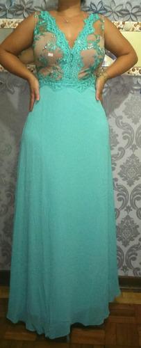 Vestido madrinha verde tiffany plus size