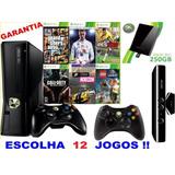 Xbox 360 Slim 250gb 2 Controles Kinect Live Escolha 12 Jogos