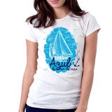 Camiseta Blusa Feminina Azul da cor do Mar