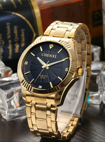 78cecf5580c Relógio De Pulso Feminino Dourado Quartz Moda Feminina