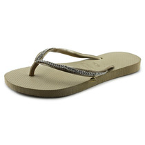 Havaianas Cristal Malha Mulheres Us 4 Tan Flip Flop Sandália