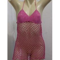 Saida De Praia Blusa Vestido Crochê Rosa