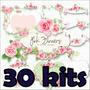 30 Kit Scrapbook Florais Papel Digital Png 681 Imagens+brind