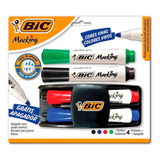 Kit Pincel Caneta P/ Quadro Branco 4 Cores + Apagador - Bic