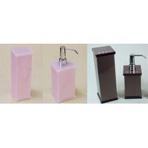 Kit Potes Para Banheiro Acrílico Rosa E Chocolate C/ Strass