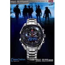 Relógio De Luxo Led Azul Tvg Seals Elite A Prova D´água