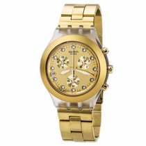 Relogio Swatch Svck4032g Full Blooded Dourado Original