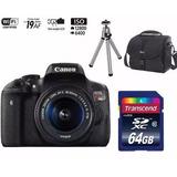 Camera Canon Eos T6i Lente 18-55 Stm +64gb C/10+bolsa+tripé
