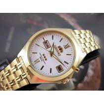 Relógio Orient Automatico Calendario Duplo Plaque Ouro