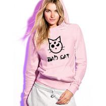 Blusa Bad Cat Pink Moletom Canguru - Promoção !