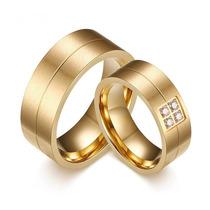 Alianças Anel Noivado Casamento Banhado A Ouro 18k (par)