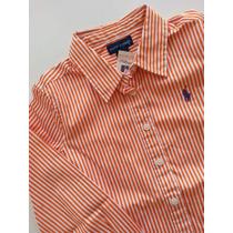 Camisa Ralph Lauren Social Listras Cor Laranja - Tam 7a