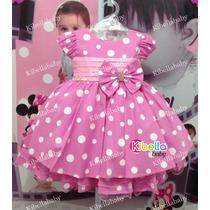 Vestido Minnie Rosa De Festa Luxo Disney