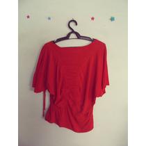 Blusa Feminina Vermelha Malha Detalhe Drapeado Cód. 269