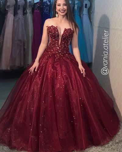 Vestido De Debutante Marsala 2 Em 1 Festa De 15 Anos à