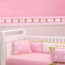 Faixa Adesiva Decorativa Parede Quarto Bebe Ursinha Rosa