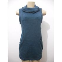 Vestido Curto Tipo Lã Azul Tam M Usado Bom Estado
