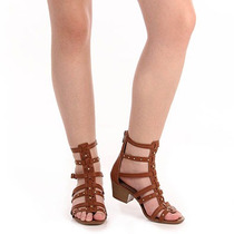Sandália Salto Gladiadora Feminina Dakota - Caramelo