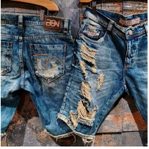 Bermuda Jeans Degrant Masculina Rasgada Hollister Sawary