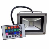 Refletor Led Outdoor 10w Rgb C/ Controle, Resistente A Água