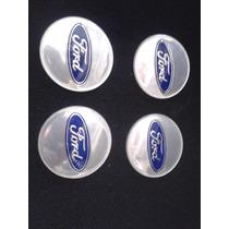 Jogo De Emblema Resinado Roda/calota Ford Prata Azul 55mm