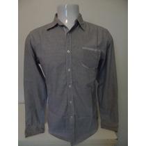Camisa Casual Tng Masculina Cinza Listrada Tam M