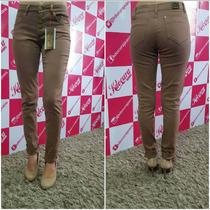 Calça Jeans Colors Hot Pant Cafe Com Leite