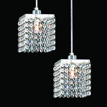 Lustre Pendente Duplo Crystal - Plafon Arandela Cristal