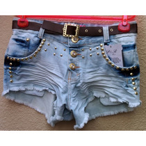 Short Jeans Feminino Customizado Detonado Destroyed + Cinto