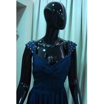 Vestido De Festa Longo Azul Marinho - Pronta Entrega