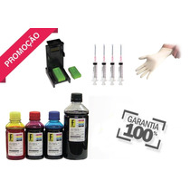 650ml -kit Tinta Recarga Cartuchos Impressora Hp + Snap Fill