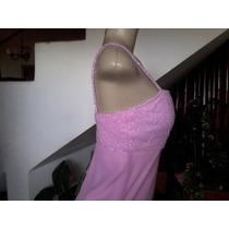Vestido Social Longo, Cor Rosa Poliester (voal) Tamanho P.
