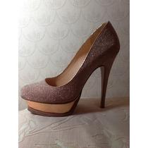 Sapato De Salto Meia Pata Luiza Barcelos Tam 37 Rosa Glitter