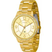 Relógio Lince Dourado Feminino (orient) Lrg4252l Prova Dágua