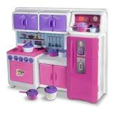 Cozinha Cristal Infantil Geladeira Fogao Completa 45cm Re243