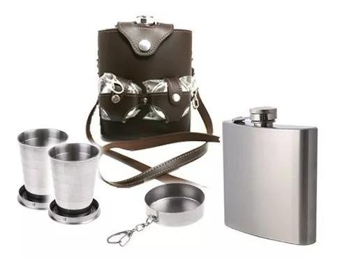 Cantil Inox Porta Bebida 530ml P/ Whisky Bolsa Couro 2copos
