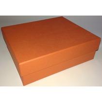 Kit Com 10 Caixas De Presente Em Papelão Na Cor Laranja