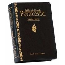 Bíblia De Estudo Pentecostal Pequena Luxo Preta C/ Harpa