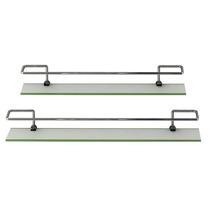 Kit 2 Prateleiras - Vidro E Alumínio - Modelo Reto 50 E 60cm