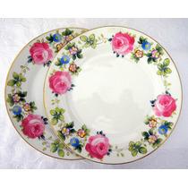 Prato Porcelana Japão Ocupado Rosas Pintadas À Mão