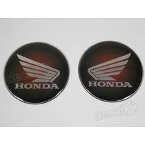 Adesivos Emblema Tanque Honda Resinado 61mm Vermelho Preto