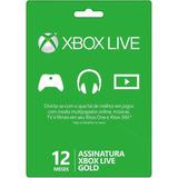 Cartão Xbox Live Gold 12 Meses Código 25 Dígitos Xbox Brasil