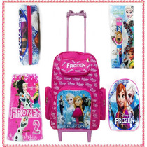 Mochila Escolar Infantil Kit Frozen Estojo,relógio,lancheira