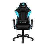 Cadeira De Escritório Thunderx3 Ec3 Gamer Ergonômica Black E Cyan Con Estofado Do Couro Sintético