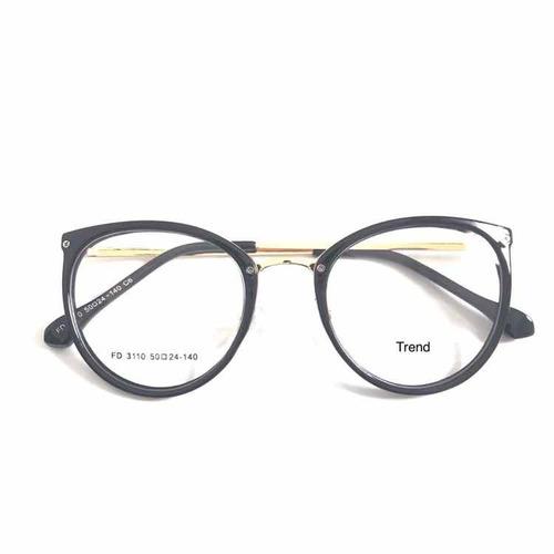 c0435f28b Armação Óculos P/grau Femenino Retro Metal Chic Nova +case