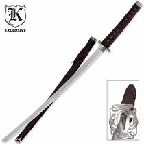 Espada Samurai Katana Guarda De Dragão Prateado C/ Bainha